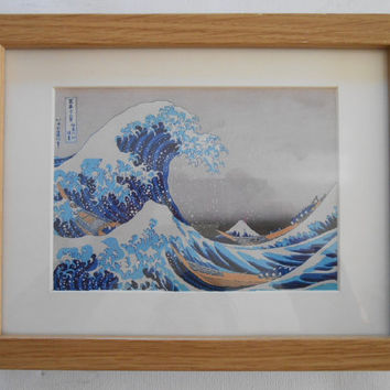 540 - Print with frame, Katsushika Hokusai, The Great Wave, Kanagawa, Art, Famous art, For the home, For the couples, Grandma present