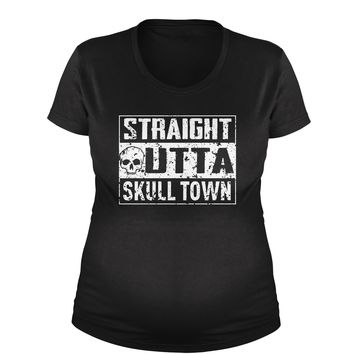 Straight Outta Skull Town Maternity Pregnancy Scoop Neck T-Shirt