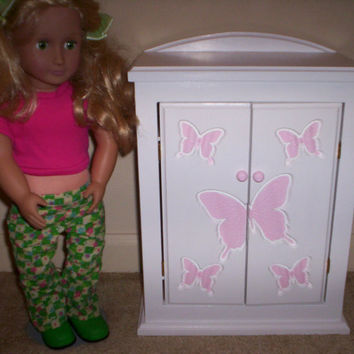 Armoire doll furniture bedroom chiffrobe Made for American girl pink butterfly design