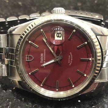 VONW3Q Rare Tudor Rolex Watch, 38mm Jumbo, 25 Jewels Automatic 90814 White Gold Bezel
