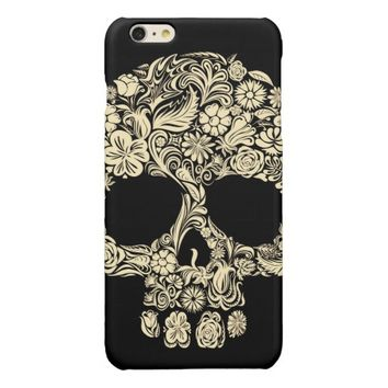 Floral Sugar Skull Glossy iPhone 6 Plus Case