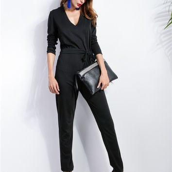 Black V-Neck Long Sleeve Bow Waist Jumpsuit