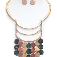 Textured Disk Drop Half Choker Necklace Set - Copper/Gold