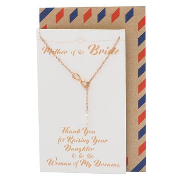 Haven Mother of the Bride Infinity Pearl Lariat Necklace, Wedding Jewelry, Thank You Card