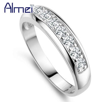 CZ Diamond Wedding Rings Men Women Vintage Silver Anel Jewelry Female Ring Aneis Anillos New Year Gift Bague Femme Alliance J294
