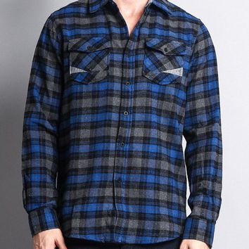 Men's Long Sleeve Woven Flannel Shirt WFS-007 - R8H