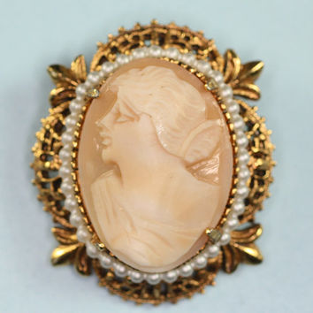 Vintage Carved Shell Cameo Brooch Faux Pearls Signed Florenza