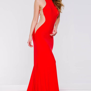 Red Jersey Fitted Sheer Panel Dress 35353
