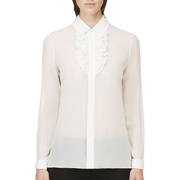 Saint Laurent Cream Silk Georgette Ruffle Blouse