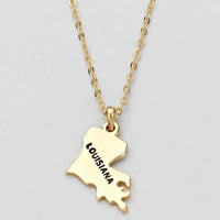 Louisiana State Plated Pendant Necklace