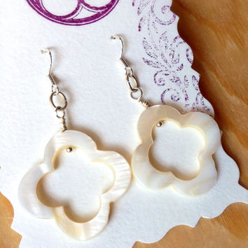 White Seashell earrings handmade