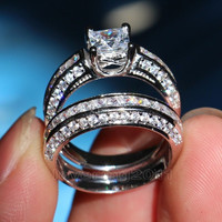 Brand Engagement Topaz Diamoni 10KT White Gold GF Wedding Ring Set Size 5-11
