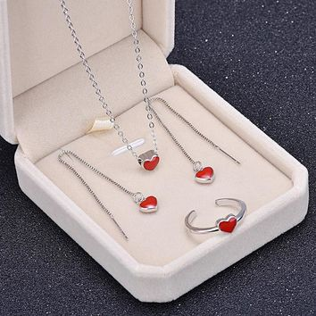 iMUCCI Sweety Lovely Red Heart Chokers Necklaces For Women Kolye Summer Fashion Jewelry Short Clavicle Accessories sets