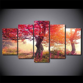 Fall Season Autumn Trees Tree Sunrise Forest Modern Canvas Wall Art Print Pictur