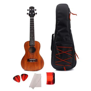 24 Inch Ukulele Solid Acacia Concert Acoustic Guitar Mahogany Neck Rosewood Fretboard Mini Hawaiian Guitar 4 Strings Ukelele with Gig Bag Sand Shaker Maraca Ring Guitar Picks Plectrums