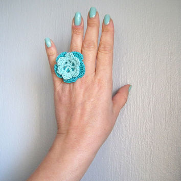 Crochet ring adjustable flower ring green girl accessories
