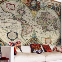 Vintage Hondius World Map Wallpaper