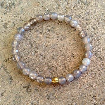 Grounding and Balance, Gray Agate Mala Bracelet