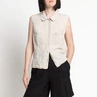 Vintage 90s Natural Linen Button Front Sleeveless Top with Rounded Collar | M
