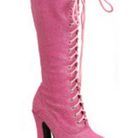"WOMEN'S 5"" HEELS SHIMMER LACE UP BOOT"