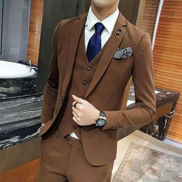 2018 New Arrivals Brown Wedding Suits For Men Slim Fit Tailored Groom Prom Blazer Costume Homme Luxury 3 Piece Tuxedo Jacket Men