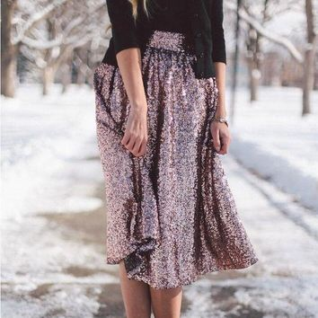 DCCKJ1A New Style Fashionable Temperament Big Swing Shiny Hot Stamping Skirt