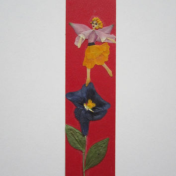 """Handmade unique bookmark """"My attitude to life"""" - Decorated with dried pressed flowers and herbs - Original art collage."""