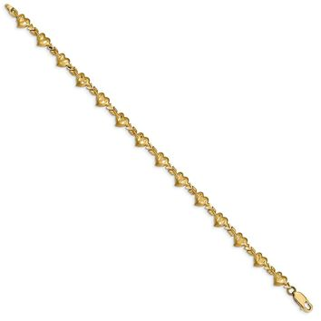 14K Yellow Gold Satin Diamond Cut Heart with Arrow 7 inch Bracelet