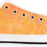 Ombre yellow and orange swirls doodles White Low Tops