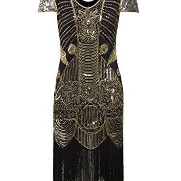 1920s Gatsby Flapper Dresses With Sleeves Sequin Art Deco Cocktail Dress
