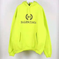 Balenciaga Autumn Winter Popular Women Men Casual Print Hoodie Sweater Pullover Top Sweatshirt Fluorescent Green