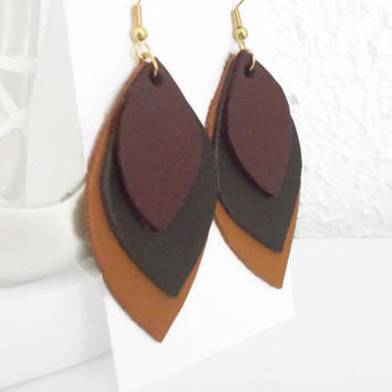 Brown Leather earrings, handmade jewelry for her, gift for women, autumn jewelry, earrings for women that likes brown, wedding anniversary