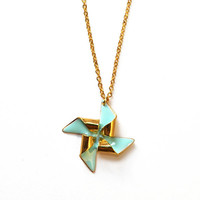 Pinwheel necklace - gold - mint - windmill necklace