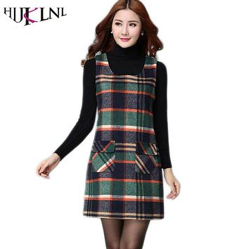 HIJKLNL Women's dresses winter women 's plaid vest plus size dress primer slim sleeveless wool vest dresses for women JX150