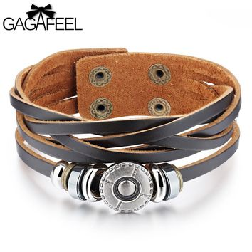 GAGAFEEL Cowhide Leather Bracelets Cuff for Men Male Fashion Punk Jewelry Men Bracelet Charm Bangles Watch Wrap Friendship Gifts