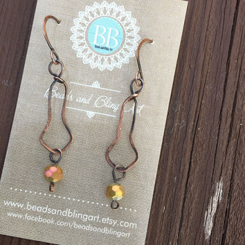 Glass bead Earrings, copper, Gold crystal, wire wrapped, dangle and drop, gifts for her, summer, hoop earrings, boho style