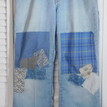 Patched Denim Jeans Hippie Clothes Upcycled Clothing Ditty Jeans Hidden Stash Pocket Baggy Leg Union Bay