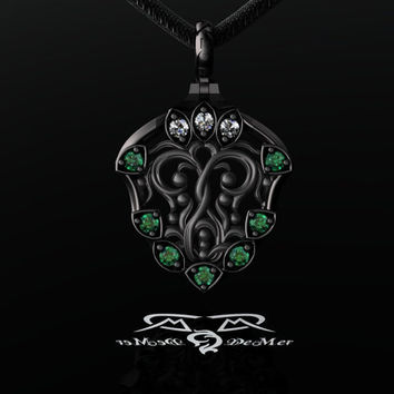 Natural Emerald, Ideal Cut Diamond, 14kt Black Gold Pendant Necklace. Edgar Allen Poe.