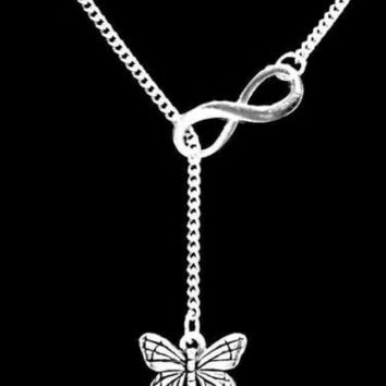 Monarch Butterfly Charm Gift Animal Insect Daughter Infinity Lariat Necklace