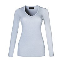 LE3NO Womens Basic Lightweight Fitted Long Sleeve V Neck Cotton Shirt with Stretch