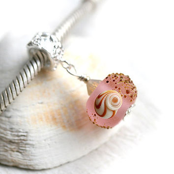 Pink charm bead, European style dangle bead, Beach charm, Seaglass look, Lampwork glass bead for European bracelets, sterling silver, SRA