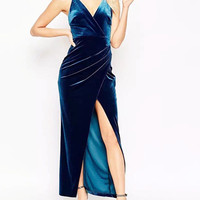 Navy Velvet Deep V-Neck Slit Cami Prom Dress