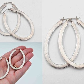 Vintage Sterling Silver Oval Hoop Pierced Earrings, Brushed, Textured, 2 3/4 Inch Hoops, Latch Back, 9.9 Grams, Huge Hoops! #c524