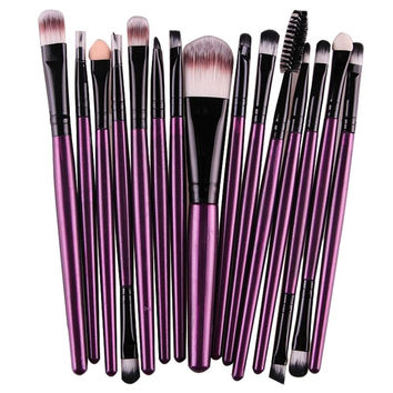 Toopoot's vestidos 2016 15 pcs 1 Sets Eye Shadow Foundation Eyebrow Lip Brush Makeup Brushes Tool #AP5