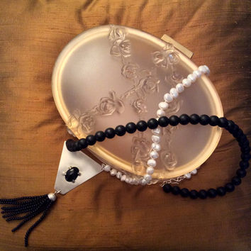 Black & White  statement necklace with onyx and fresh water pearls beads, onyx cabochon and onyx beads tassel