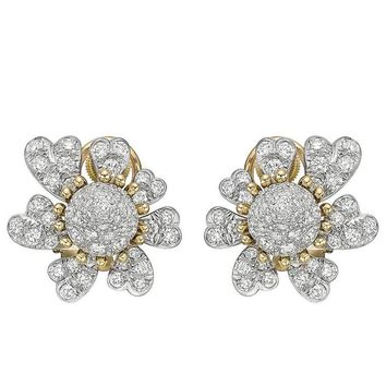 Tiffany & Co. ​Schlumberger Pavé Diamond Flower Earclips