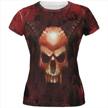 Halloween Horned Demon Skull From Hell All Over Juniors T Shirt