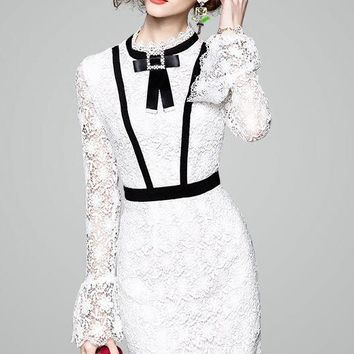 White Lace Dress W/ Bell Sleeve