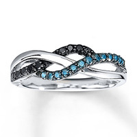 Black & Blue Diamonds 1/4 ct tw Ring Sterling Silver