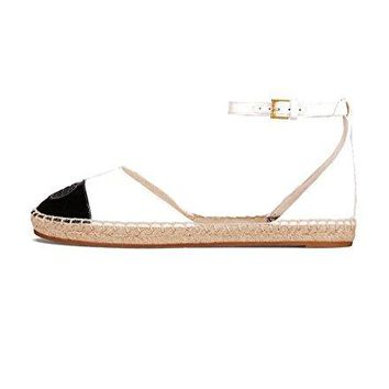 Tory Burch Color Block Ankle Strap Espadrilles, Ivory/Black